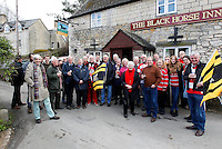 Photo: Richard Lane/Richard Lane Photography. Gloucester Rugby v Wasps. Aviva Premiership. 05/03/2016. Locals from the Black Horse pub at Cranham  prepare to head down to the game.