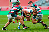 28th March 2021; Mattoli Woods Welford Road Stadium, Leicester, Midlands, England; Premiership Rugby, Leicester Tigers versus Newcastle Falcons; A darting run by Sam Stuart of Newcastle Falcons is stopped by Jasper Wiese and Charlie Clare of Leicester Tigers
