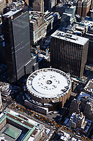 aerial photograph of cabs waiting in front of Pennsylvania Station, Manhattan, New York City after a snow storm