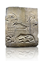 Hittite relief sculpted orthostat stone panel of Long Wall Basalt, Karkamıs, (Kargamıs), Carchemish (Karkemish), 900 - 700 B.C.  Anatolian Civilizations Museum, Ankara, Turkey<br /> <br /> Chariot. One of the two figures in the chariot holds the horse's headstall while the other throws arrows. There is a naked enemy with an arrow in his hip lying face down under the horse's feet. It is thought that this figure is depicted smaller than the other figures since it is an enemy soldier. The tower part of the orthostat is decorated with braiding motifs.<br /> <br /> On a White Background.