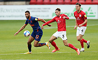 Crewe Alexandra's Perry Ng under pressure from Blackpool's Grant Ward<br /> <br /> Photographer Rich Linley/CameraSport<br /> <br /> The EFL Sky Bet League One - Crewe Alexandra v Blackpool - Saturday 17th October 2020 - Gresty Road - Crewe<br /> <br /> World Copyright © 2020 CameraSport. All rights reserved. 43 Linden Ave. Countesthorpe. Leicester. England. LE8 5PG - Tel: +44 (0) 116 277 4147 - admin@camerasport.com - www.camerasport.com