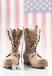 Military boots with dog tags