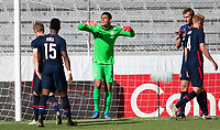GUADALAJARA, MEXICO - MARCH 28: David Ochoa #20 of the United States giving directions during a game between Honduras and USMNT U-23 at Estadio Jalisco on March 28, 2021 in Guadalajara, Mexico.