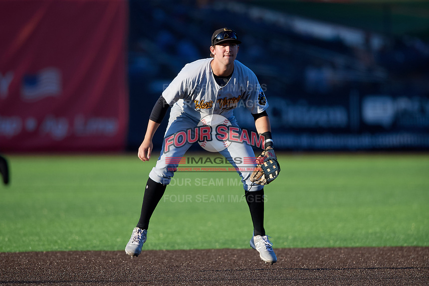 West Virginia Black Bears third baseman Jared Triolo (23) during a NY-Penn League game against the Auburn Doubledays on August 23, 2019 at Falcon Park in Auburn, New York.  West Virginia defeated Auburn 8-1, the first game of a doubleheader.  (Mike Janes/Four Seam Images)