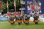 August 07, 2009: The US equestrian team are led into the arena by the Irish Military band. Meydan FEI Nations Cup. Failte Ireland Horse Show. The RDS, Dublin, Ireland.