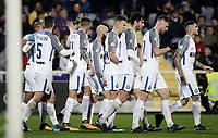 Calcio, Serie A: Fiorentina - Inter, stadio Artemio Franchi Firenze 5 gennaio 2018.<br /> Inter's Mauro Icardi (r) celebrates after scoring with his teammates during the Italian Serie A football match between Fiorentina and Inter Milan at Florence's Artemio Franchi stadium, January 5 2018.<br /> UPDATE IMAGES PRESS/Isabella Bonotto