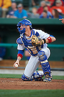 South Bend Cubs catcher Cael Brockmeyer (9) checks the runner during a game against the Cedar Rapids Kernels on June 5, 2015 at Four Winds Field in South Bend, Indiana.  South Bend defeated Cedar Rapids 9-4.  (Mike Janes/Four Seam Images)