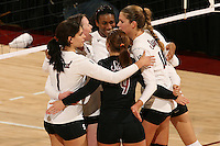 STANFORD, CA - DECEMBER 5:  Cynthia Barboza, Cassidy Lichtman, Foluke Akinradewo, Alix Klineman, and Gabi Ailes of the Stanford Cardinal during Stanford's 3-0 win over Albany in the first round of the NCAA Division 1 Women's Volleyball Championships on December 5, 2008 at Maples Pavilion in Stanford, California.
