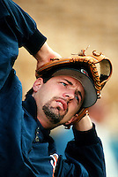 Bob Tewksbury of the San Diego Padres at Dodger Stadium in Los Angeles,California during the 1996 season. (Larry Goren/Four Seam Images)