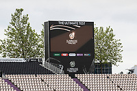 A general view of the scoreboard and the ICC World Test logo during a training session ahead of the ICC World Test Championship Final at the Ageas Bowl on 17th June 2021