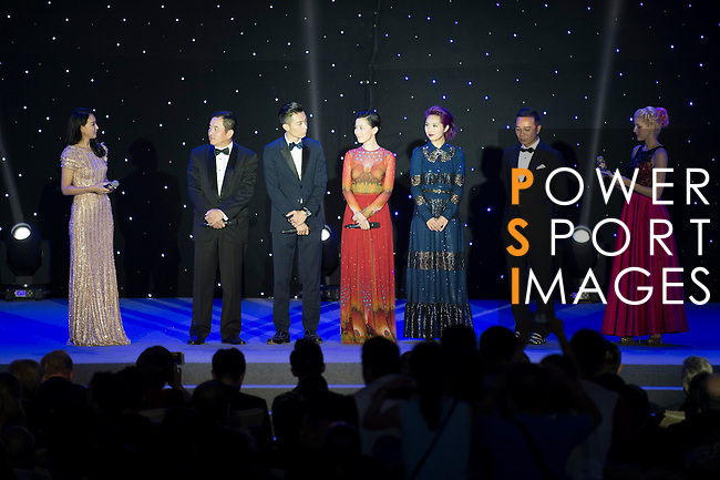 (From second left to the right) Pakho Chau, Charmaine Sheh, Miriam Yeung during the Opening Ceremony of the the World Celebrity Pro-Am 2016 Mission Hills China Golf Tournament on 20 October 2016, in Haikou, China. Photo by Marcio Machado / Power Sport Images