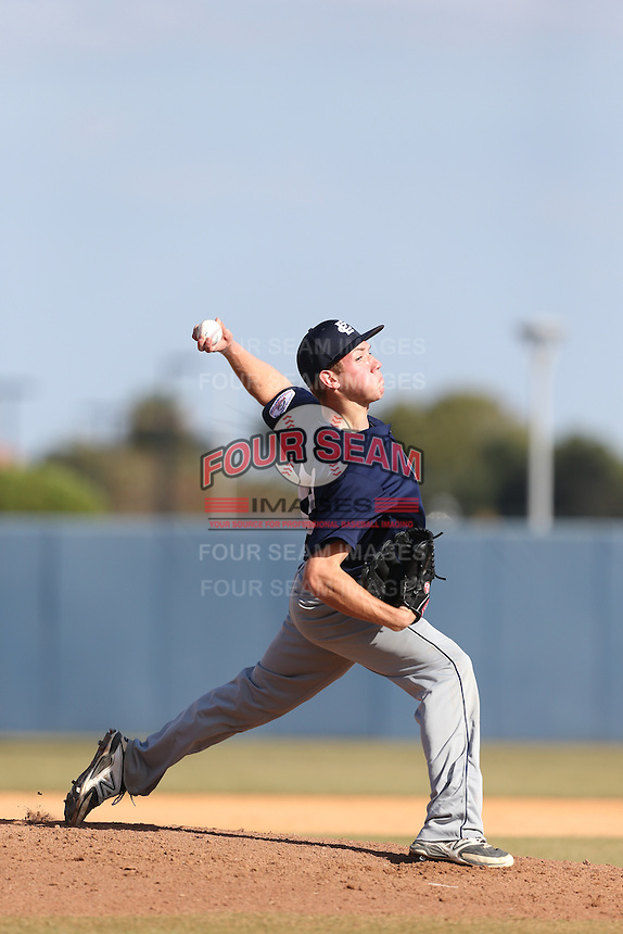 Nathan McGrath of Clovis East High School in Clovis, California during the MLBS Southern California Invitational Workout at the Urban Youth Academy on February 14, 2014 in Compton, California. (Larry Goren/Four Seam Images)