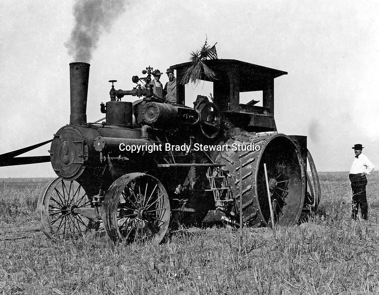 Client: J.I. Case Company<br /> Product: Case Steam Traction Engine<br /> Ad Agency: Photograph used in Case Advertising<br /> <br /> Westmoreland County PA:  The new Case Steam Traction Engine operating on a farm.  Brady Stewart was hired by Case to photograph the new machine for a brochure.