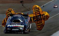 Apr 8, 2006; Las Vegas, NV, USA; NHRA Funny Car driver Bob Gilbertson following a qualifying run for the SummitRacing.com Nationals at Las Vegas Motor Speedway in Las Vegas, NV. Mandatory Credit: Mark J. Rebilas