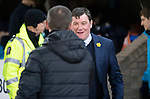 St Johnstone v St Mirren….27.03.19   McDiarmid Park   SPFL<br />Tommy Wright greets Oran Kearney<br />Picture by Graeme Hart. <br />Copyright Perthshire Picture Agency<br />Tel: 01738 623350  Mobile: 07990 594431