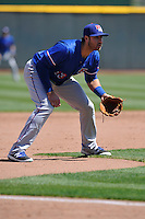 Round Rock Express third baseman Joey Gallo (13) plays defense against the Omaha Storm Chasers at Werner Park on April 12, 2016 in Omaha, Nebraska.  The Express won 6-4.  (Dennis Hubbard/Four Seam Images)