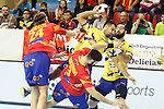 Spain's Viran Morros de Argila (l), Eduardo Gurbindo (c) and Bosnia Herzegovina's Marko Tarabochia (r) during 2018 Men's European Championship Qualification 2 match. November 2,2016. (ALTERPHOTOS/Acero)