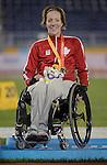 Becky Richter, Toronto 2015 - Para Athletics // Para-athlétisme.<br /> Becky Richter receives her Bronze medal for Women's Discus Throw F51/52 // Becky Richter reçoit sa médaille de bronze pour le lancer du disque féminin F51 / 52. 11/08/2015.