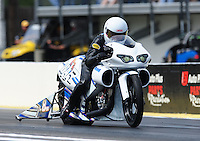 Mar. 9, 2012; Gainesville, FL, USA; NHRA pro stock motorcycle rider Jerry Savoie during qualifying for the Gatornationals at Auto Plus Raceway at Gainesville. Mandatory Credit: Mark J. Rebilas-