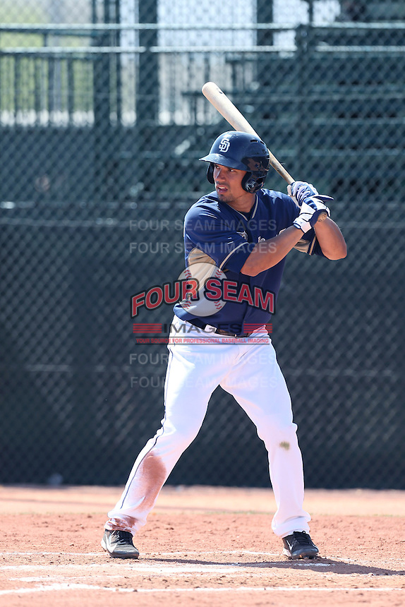 Jace Peterson #74 of the San Diego Padres bats during a Minor League Spring Training Game against the Kansas City Royals at the Kansas City Royals Spring Training Complex on March 26, 2014 in Surprise, Arizona. (Larry Goren/Four Seam Images)