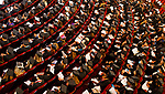WATERBURY, CT 072421JS19 A sea of graduates fill the seats during Post University graduation ceremonies held Saturday at the Palace Theater in Waterbury. This was a commencement for both 2020 and 2021 graduates. <br /> Jim Shannon Republican American