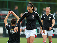 Amber Tysiak (3) of OHL gives an encouraging pat on the back to Sara Yuceil (13) of OHL during her stretching before a female soccer game between Oud Heverlee Leuven and AA Gent Ladies on the 9 th matchday of play off 1 in the 2020 - 2021 season of Belgian Womens Super League , saturday 22 nd of May 2021  in Heverlee , Belgium . PHOTO SPORTPIX.BE | SPP | SEVIL OKTEM