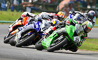 Roger Hayden (#95) leads a pack of Daytona Sportbikes through a turn at Virginia International Raceway during Sunday's Sportbike race.  (Photo by Brian Cleary/www.bcpix.com)