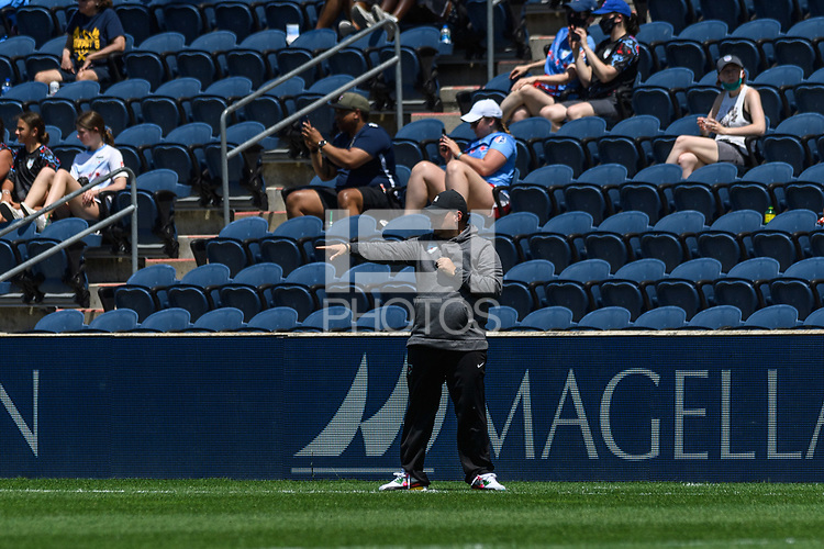 BRIDGEVIEW, IL - JUNE 5: Chicago Red Stars head coach Rory Dames looks on during a game between North Carolina Courage and Chicago Red Stars at SeatGeek Stadium on June 5, 2021 in Bridgeview, Illinois.
