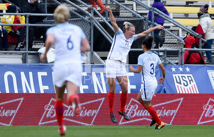 Columbus, Ohio - Thursday March 01, 2018: Toni Duggan celebrates her goal during a 2018 SheBelieves Cup match between the women's national teams of the England (ENG) and France (FRA) at MAPFRE Stadium.