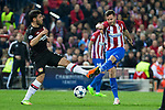 Kevin Volland of Bayer 04 Leverkusen competes for the ball with Koke Resurrecccion of Atletico de Madrid during the match of Uefa Champions League between Atletico de Madrid and Bayer Leverkusen at Vicente Calderon Stadium  in Madrid, Spain. March 15, 2017. (ALTERPHOTOS / Rodrigo Jimenez)