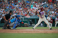 Frisco RoughRiders Ryan Dorow (21) at bat in front of catcher Luis Torrens (21) and umpire Luis Hernandez during a Texas League game against the Amarillo Sod Poodles on July 13, 2019 at Dr Pepper Ballpark in Frisco, Texas.  (Mike Augustin/Four Seam Images)