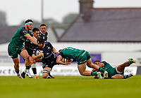 4th June 2021; Galway Sportsgrounds, Galway, Connacht, Ireland; Rainbow Cup Rugby, Connacht versus Ospreys; Tom Daly and Peter Sullivan (Connacht) stop Morgan Morris (Ospreys)