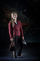 Portrait of Shauna Coxsey.<br /> Shauna Coxsey (born 27 January 1993) is an English professional rock climber, she came second in the IFSC Bouldering World Cup in 2014.