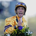 Nov. 03, 2012 - Arcadia, California, U.S - John Velazquez celebrates after riding Wise Dan to win the Breeders' Cup Mile at Santa Anita Park in Arcadia, CA. (Credit Image: © Jimmy Jones/Eclipse/ZUMAPRESS.com)