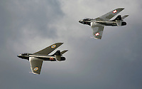 Two historic Hawker Hunter jets during a display at Rygge Airshow. Norway
