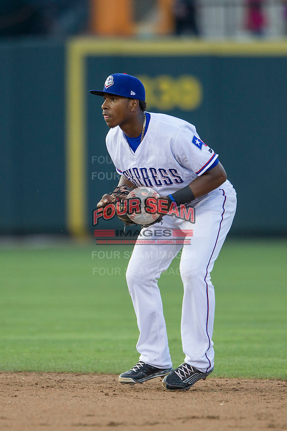 Round Rock Express shortstop Yeyson Yrizarri (60) on defense during the Pacific Coast League baseball game against the Oklahoma City Dodgers on June 9, 2015 at the Dell Diamond in Round Rock, Texas. The Dodgers defeated the Express 6-3. (Andrew Woolley/Four Seam Images)