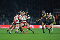 Jonny May of Gloucester Rugby calls for support as he is tackled by Marland Yarde of Harlequins during the Aviva Premiership Rugby match between Harlequins and Gloucester Rugby at Twickenham Stadium on Tuesday 27th December 2016 (Photo by Rob Munro/Stewart Communications)