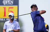 16th July 2021; Royal St Georges Golf Club, Sandwich, Kent, England; The Open Championship Tour Golf, Day Two; Sebastian Munoz (COL) hits his driver from the tee at the 15th hole