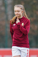 Gwyneth Vanaenrode (3 Standard)  pictured during the warm up before a female soccer game between Standard Femina de Liege and RSC Anderlecht on the 9th matchday of the 2020 - 2021 season of Belgian Scooore Womens Super League , saturday 12 th of December 2020  in Angleur , Belgium . PHOTO SPORTPIX.BE   SPP   SEVIL OKTEM