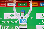 Enric Mas (ESP) Movistar Team retains the young riders White Jersey at the end of Stage 11 of the Vuelta Espana 2020 running 170km from Villaviciosa to Alto de la Farrapona, Spain. 31st October 2020.    <br /> Picture: Luis Angel Gomez/PhotoSportGomez | Cyclefile<br /> <br /> All photos usage must carry mandatory copyright credit (© Cyclefile | Luis Angel Gomez/PhotoSportGomez)