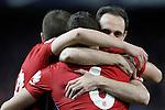 Atletico de Madrid's Gabi Fernandez, Koke Resurrecccion and Koke Resurrecccion celebrate goal during La Liga match. March 1,2016. (ALTERPHOTOS/Acero)