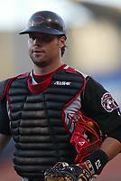 Jason LaRue of the Cincinnati Reds during a 2003 season MLB game at Dodger Stadium in Los Angeles, California. (Larry Goren/Four Seam Images)