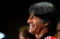 Germany coach Joachim Loew smiles during a press conference ahead of tomorrow's semi final vs Brazil