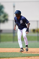 GCL Tigers East shortstop Kelvin Smith (4) leads off second base during a game against the GCL Tigers West on August 8, 2018 at Tigertown in Lakeland, Florida.  GCL Tigers East defeated GCL Tigers West 3-1.  (Mike Janes/Four Seam Images)