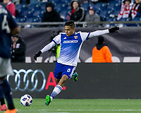 Foxborough, Massachusetts - April 14, 2018: In a Major League Soccer (MLS) match, FC Dallas (white/blue) defeated New England Revolution (blue/white), 1-0, at Gillette Stadium.