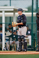 GCL Yankees East catcher Alex Guerrero (49) during the first game of a doubleheader against the GCL Pirates on July 31, 2018 at Pirate City Complex in Bradenton, Florida.  GCL Yankees East defeated GCL Pirates 2-0.  (Mike Janes/Four Seam Images)