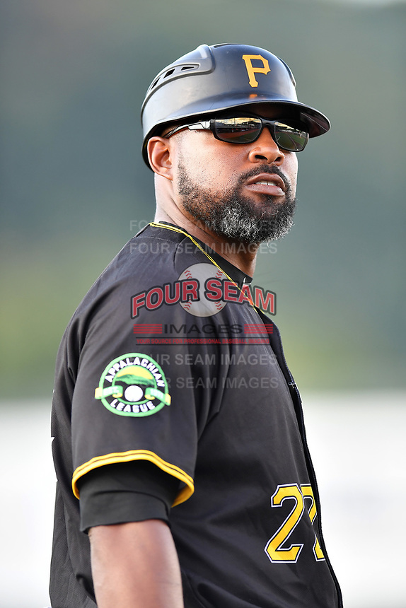 Bristol Pirates manager Kieran Mattison (22) during game two of the Appalachian League, West Division Playoffs against the Johnson City Cardinals at TVA Credit Union Ballpark on August 31, 2019 in Johnson City, Tennessee. The Cardinals defeated the Pirates 7-4 to even the series at 1-1. (Tony Farlow/Four Seam Images)