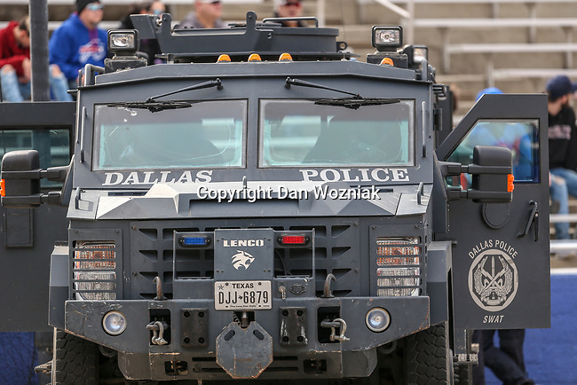 Dallas Police in action during the Servpro First Responder Bowl game between Boise State Broncos and Boston College Eagles at the Cotton Bowl Stadium in Dallas, Texas.