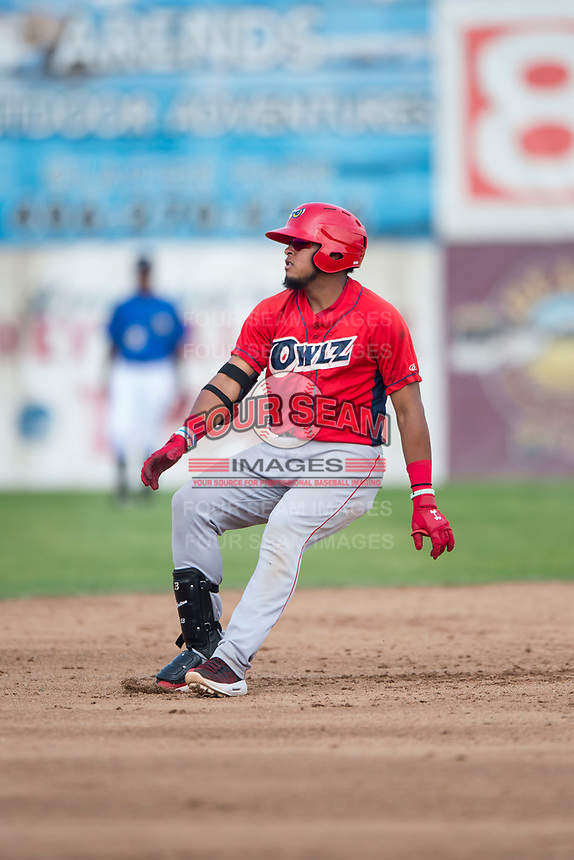 Orem Owlz third baseman Kevin Maitan (9) holds at second base during a Pioneer League game against the Missoula Osprey at Ogren Park Allegiance Field on August 19, 2018 in Missoula, Montana. The Missoula Osprey defeated the Orem Owlz by a score of 8-0. (Zachary Lucy/Four Seam Images)