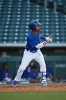 AZL Cubs 1 Yovanny Cuevas (24) squares to bunt during an Arizona League game against the AZL Padres 1 on July 5, 2019 at Sloan Park in Mesa, Arizona. The AZL Cubs 1 defeated the AZL Padres 1 9-3. (Zachary Lucy/Four Seam Images)